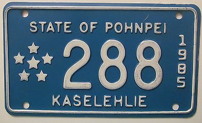 State of Pohnpei 1985 KASELEHLIE MOTORCYCLE License Plate HIGH QUALITY # 288