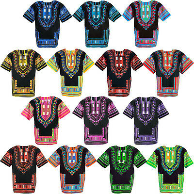 14 Black Shade Dashiki African Mexican Poncho Shirt Blouse Cotton Unisex Var