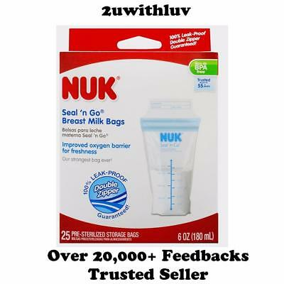 Nuk Seal N Go Breast Milk Storage Bags 180Ml / 6 Oz Bpa Free 25, 50 & 100 Count