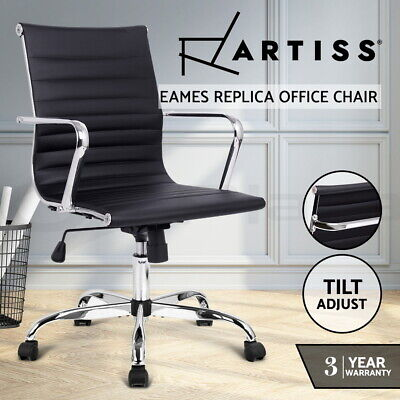 NEW Eames Replica Premium PU Leather Office Chair Executive Work Computer BK 47