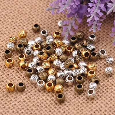 50/100Pcs Antique Tibetan Silver Round Charm Spacer Beads Jewelry Finding SH3035