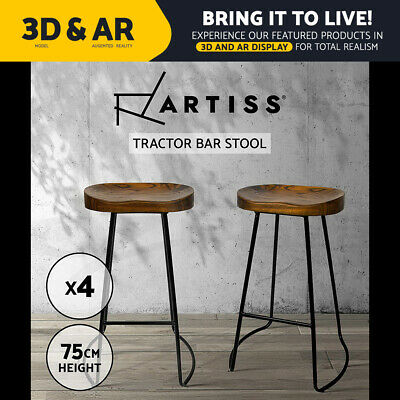 4x Vintage Tractor Bar Stool Retro Barstool Industrial Dining Chair 75cm Wood