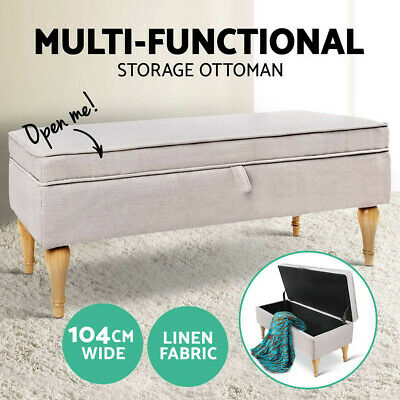 Blanket Box Storage Ottoman Linen Fabric Chest Foot Stool Bench Bed Beige