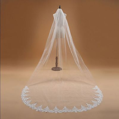 2016 New 1T Cathedral White/Ivory Elegant Lace Edge Long Wedding Veil with Comb