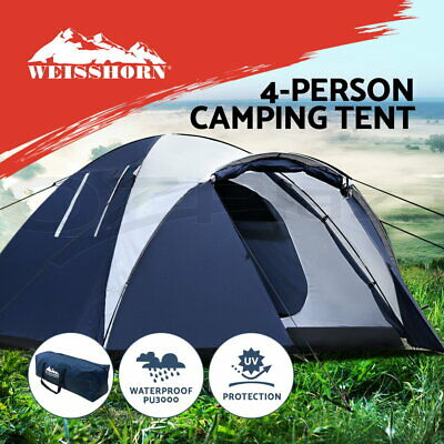 Weisshorn 4 Person Family Camping Tent Dome Canvas Swag Hiking Beach