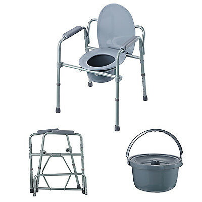 Folding Raised Toilet Bedside Commode Seat w Bucket & Splash Guard Drive Medical