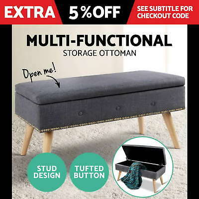 Blanket Box Storage Ottoman Linen Fabric Toy Chest Foot Stool Bed Stud Grey