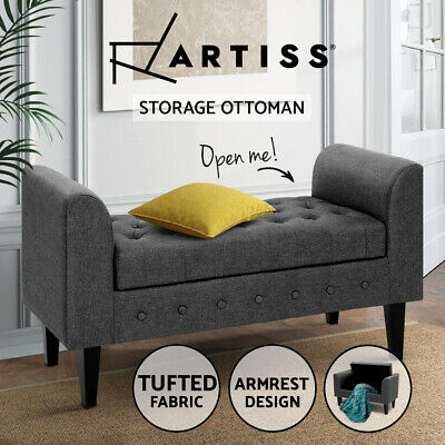 Artiss Blanket Box Storage Ottoman Linen Fabric Bed Foot Stool Chest Toy Bench