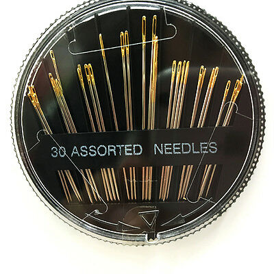 30PCS Assorted Hand Sewing Needles Embroidery Mending Craft Quilt Sew Case New