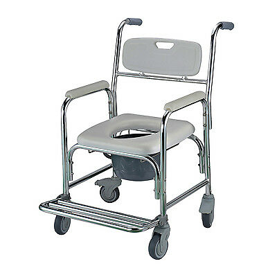 New Transit Commode Mobile Chair with 4 Brake Castors Transport Wheelchair