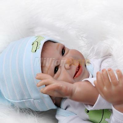 "22"" Handmade Lifelike Happy Baby Boy Girl Silicone Vinyl Reborn Newborn Dolls"