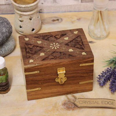 Kang Wooden Bottle Storage Box 6 Compartments Aromatherapy Oil Medicine Brass