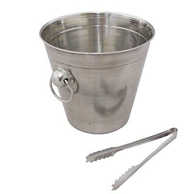 Tri-Star Stainless Steel Light Plain Ice Bucket With Tongs