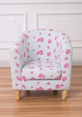 Children's tub chair kids arm chair fabric upholstered blue floral comfy sofa