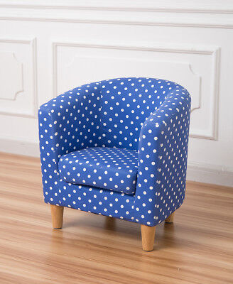 Children's tub chair kids arm chair fabric upholstered navy blue spot comfy sofa