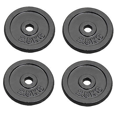 "Cast Iron Weight Plates 4 x 2.5 kg Barbell Plate 1"" Dumbbell Weights Disc Plate"