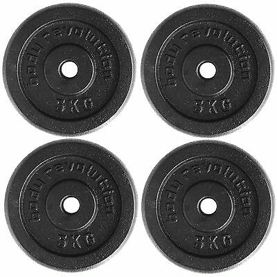 "Cast Iron Weight Plates 4 x 5 kg Barbell Plate 1"" Dumbbell Weights Disc Plate"