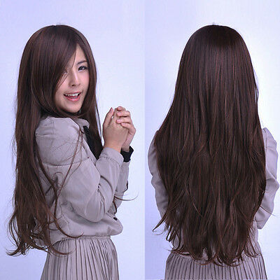 Women's Natural Long Straight Full Wig Synthetic Hair Wigs Cosplay Party Brown