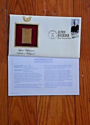 ALFRED HITCHCOCK LEGENDS OF HOLLYWOOD 22kt Gold Golden replica Cover FDC Stamp
