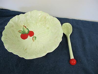 Carlton Ware Cabbage Leaf Bowl Tomato With Serving Spoon