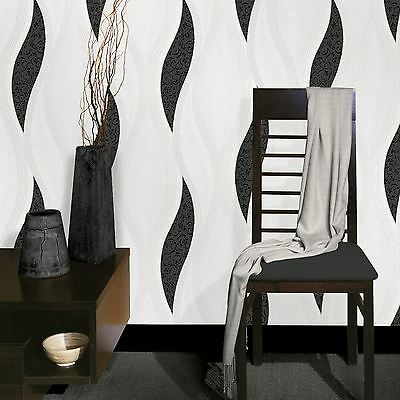 Wave Embossed Textured Wallpaper - Black - E62009 Ugepa New
