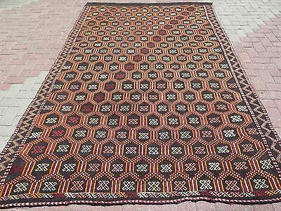 "Vintage Turkish Rug,Embroidered Rug Kilim,Woolrugs 71,2""x114,1"" Arearugs,Carpet"
