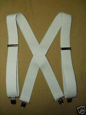 White Heavy Elastic Suspenders Braces 2 Inch Wide New USA