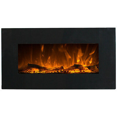 Charles Bentley 1.5kW Electric Wall Mounted Large Black Fireplace Remote control