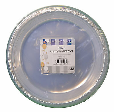 """50ct Plastic Clear 9"""" Plates Wedding Party Dinnerware"""