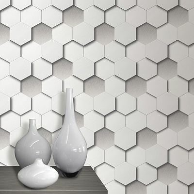 3D Hexagon Wallpaper Geometric Leather Vinyl White Grey Paste The Wall Muriva