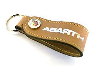 Fiat / Abarth Merchandise Tan Leather Key ring 46004886 Brand New Genuine