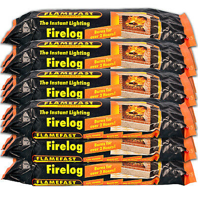 Flamefast Instant-Light Smokeless Fire Log Burns For 2-3 Hours (Case 12)