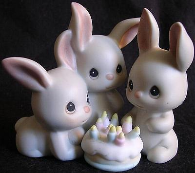 Birthday Bunnies w/ Cake Enesco Precious Moments Another Year More Gray Hares