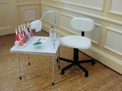 SALE : Dollhouse Miniature Nail Stylist Table with Chair & Accessories- England