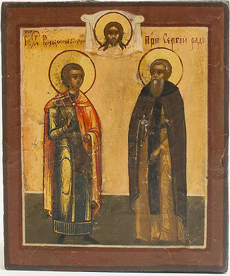 Old Antique Russian Icon of Saint Boniface and Saint Sergey Radonezhsky