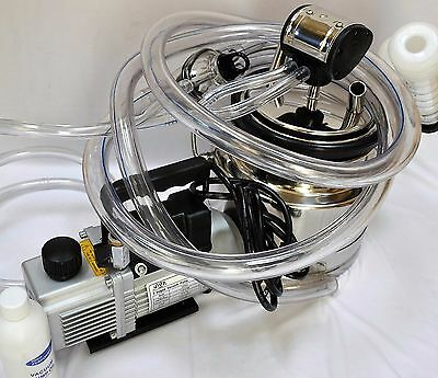 Simple Complete Goat Bucket Milker Machine:6cfm Vacuum Pump 5L Pail Pulsator+New