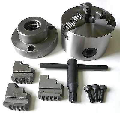 """Precision 3-Jaw x 3"""" Self-Centering Metal Lathe Chuck + 1/2-20 Back Plate New"""