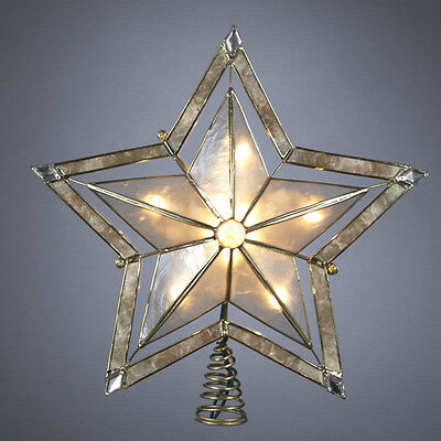 5 Point Gold Smoke Capiz Double Star Light Up Christmas Tree Topper