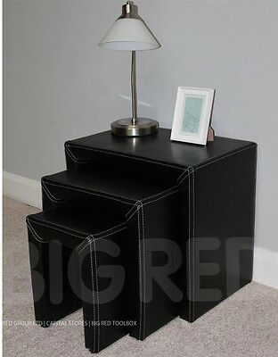 Black Leather Nest of 3 Tables - Side Table - End Table - Coffee Table