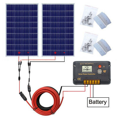 200W Photovoltaic Poly Solar Panel System 12V 200W COMPLETE KIT Marine RV Boat