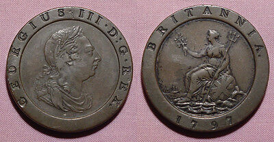 1797 KING GEORGE III CARTWHEEL TWOPENCE - Good Edge Example