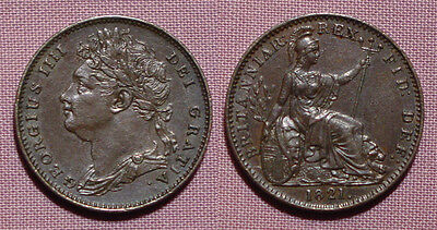 1821 KING GEORGE IV COPPER FARTHING - Top Grade Coin