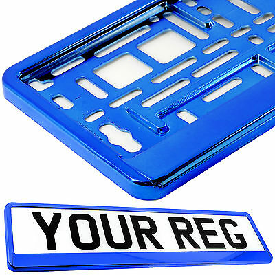 SUPER CHROME BLUE Car Number Plate Surround Holder FOR ANY CAR TRUCK VAN TRAILER