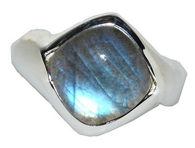 .925 Sterling SILVER Shiny Labradorite Mens Ring; Authentic Gems Gents Jewellery