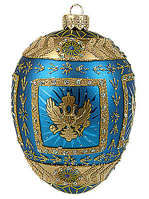 Faberge Inspired Blue Eagle Egg Polish Blown Glass Christmas or Easter Ornament