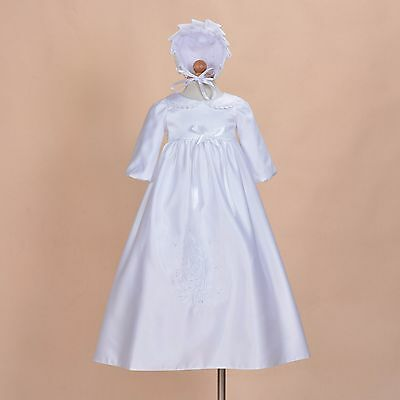 Cinda Baby Long Sleeves White Satin Long Christening Gown Bonnet 6-9 Months