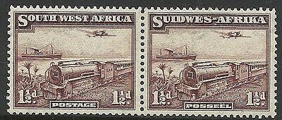 SOUTH WEST AFRICA: SCOTT 110 MNH PAIR - 1937 1.5d VIOLET BROWN ISSUE