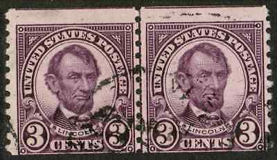 US #600 3c Lincoln Perf.10 Coil USED Line Pair Stamp