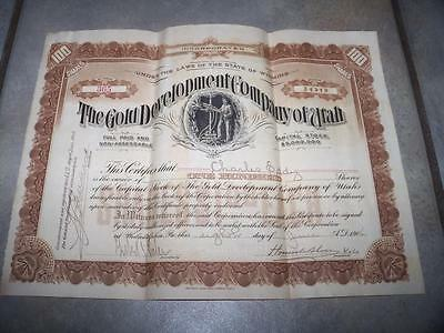 1906 The Gold Development Company Of Utah 100 Shares Stock Certificate Mining