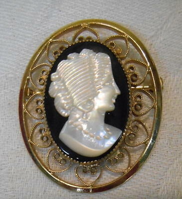 Vintage Catamore Cameo Brooch Pin Mother of Pearl On Onyx Gold filled